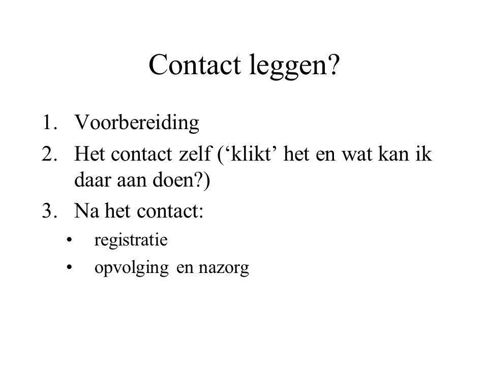 Contact leggen.