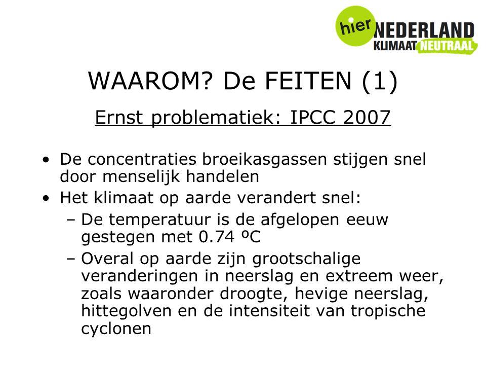 WAAROM? De FEITEN (1) Ernst problematiek: IPCC 2007 De concentraties broeikasgassen stijgen snel door menselijk handelen Het klimaat op aarde verander