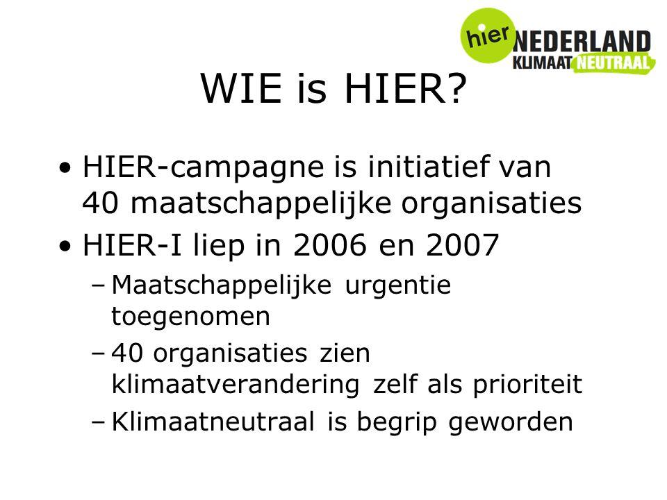 WIE is HIER? HIER-campagne is initiatief van 40 maatschappelijke organisaties HIER-I liep in 2006 en 2007 –Maatschappelijke urgentie toegenomen –40 or