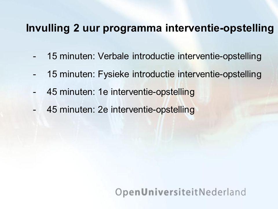 Invulling 2 uur programma interventie-opstelling 15 minuten: Verbale introductie interventie-opstelling 15 minuten: Fysieke introductie interventie-opstelling 45 minuten: 1e interventie-opstelling 45 minuten: 2e interventie-opstelling