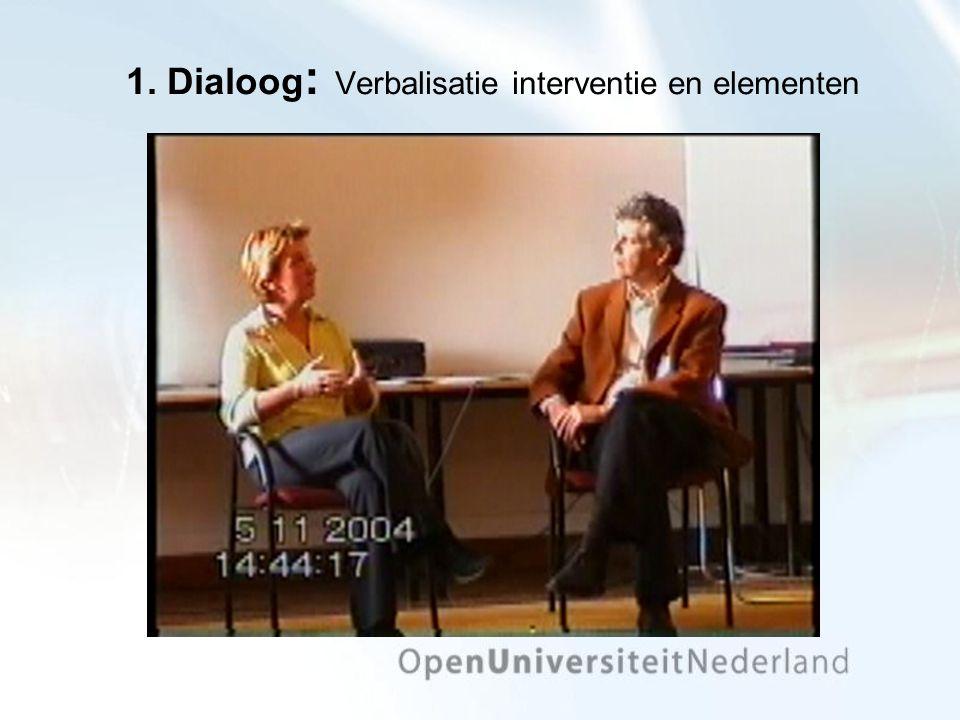 1. Dialoog : Verbalisatie interventie en elementen