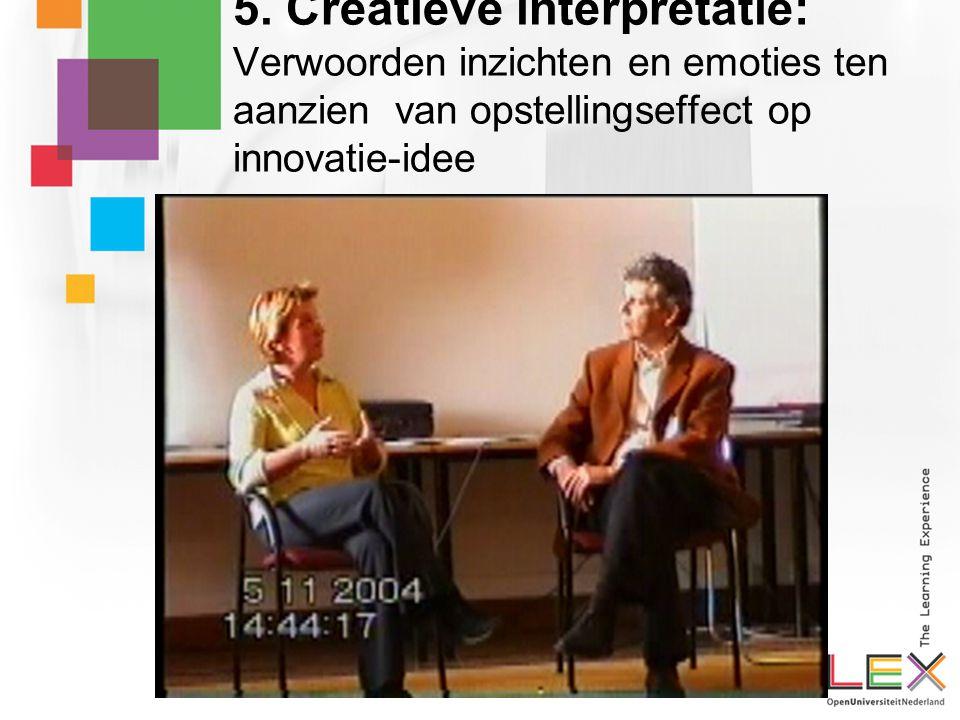 5. Creatieve interpretatie: Verwoorden inzichten en emoties ten aanzien van opstellingseffect op innovatie-idee