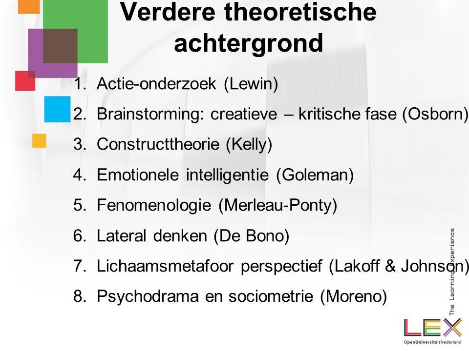 Verdere theoretische achtergrond 1.Actie-onderzoek (Lewin) 2.Brainstorming: creatieve – kritische fase (Osborn) 3.Constructtheorie (Kelly) 4.Emotionele intelligentie (Goleman) 5.Fenomenologie (Merleau-Ponty) 6.Lateral denken (De Bono) 7.Lichaamsmetafoor perspectief (Lakoff & Johnson) 8.Psychodrama en sociometrie (Moreno)