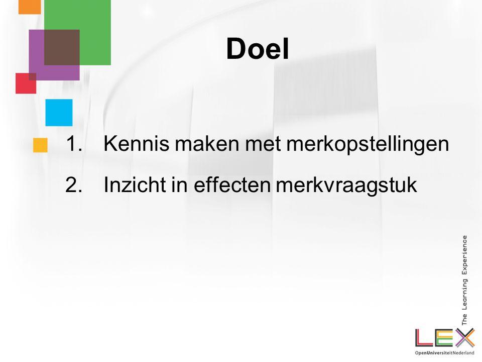Doel 1. Kennis maken met merkopstellingen 2. Inzicht in effecten merkvraagstuk