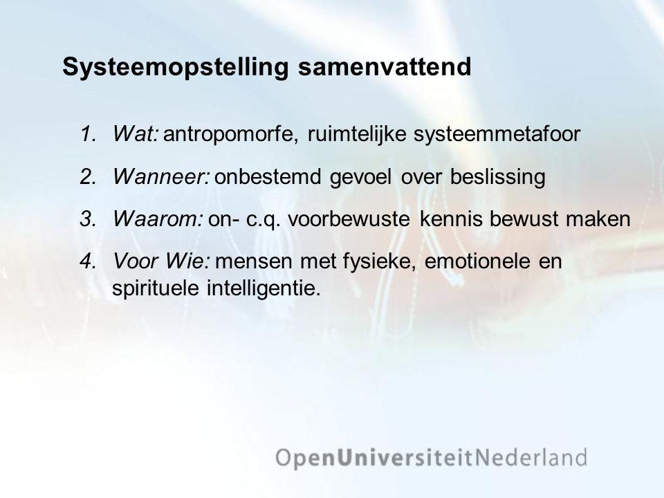Systeemopstelling samenvattend 1.Wat: antropomorfe, ruimtelijke systeemmetafoor 2.Wanneer: onbestemd gevoel over beslissing 3.Waarom: on- c.q.