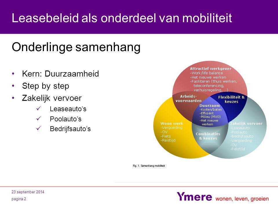 23 september 2014 pagina 2 Leasebeleid als onderdeel van mobiliteit Onderlinge samenhang Kern: Duurzaamheid Step by step Zakelijk vervoer Leaseauto's