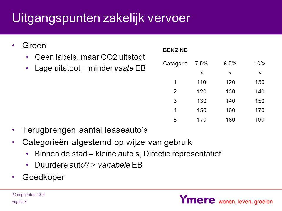 23 september 2014 pagina 3 Uitgangspunten zakelijk vervoer Groen Geen labels, maar CO2 uitstoot Lage uitstoot = minder vaste EB Terugbrengen aantal le