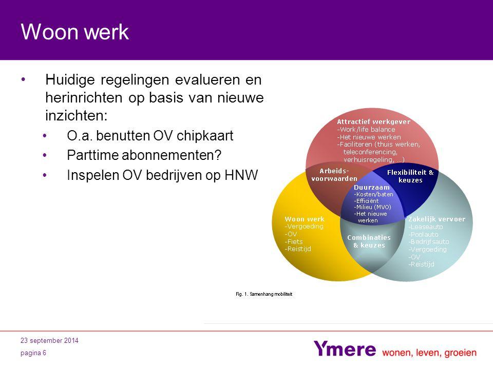 23 september 2014 pagina 6 Woon werk Huidige regelingen evalueren en herinrichten op basis van nieuwe inzichten: O.a. benutten OV chipkaart Parttime a