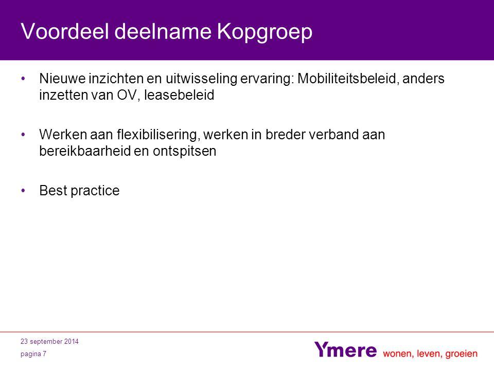 Voordeel deelname Kopgroep Nieuwe inzichten en uitwisseling ervaring: Mobiliteitsbeleid, anders inzetten van OV, leasebeleid Werken aan flexibiliserin