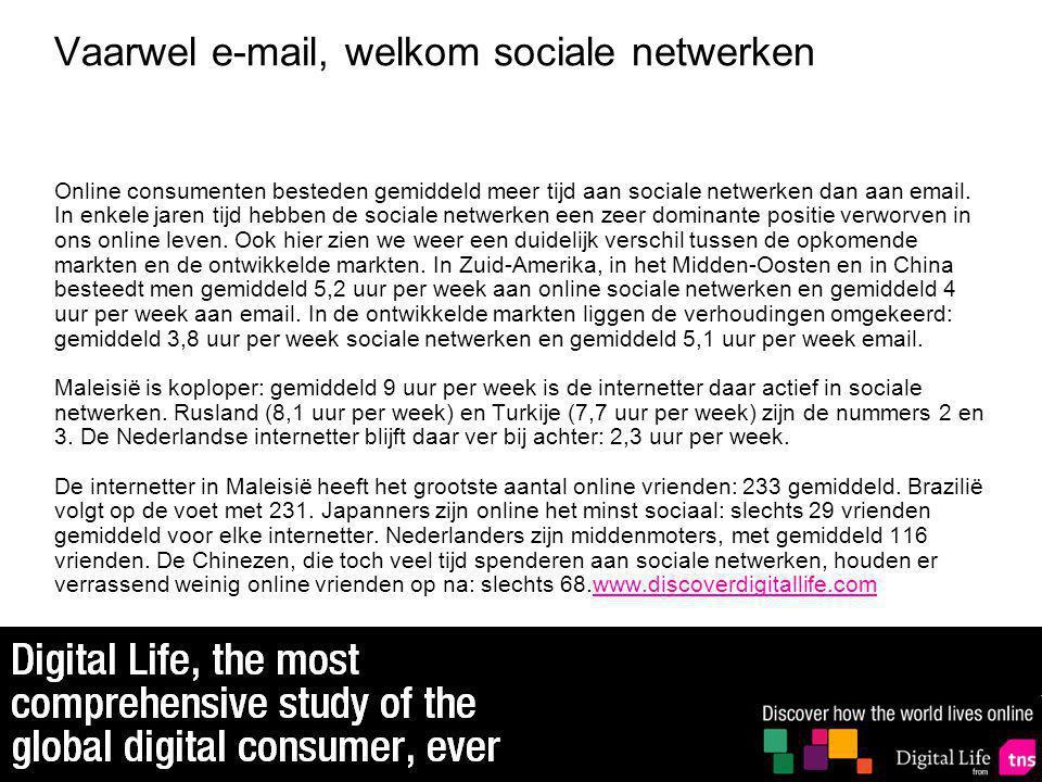 Vaarwel e-mail, welkom sociale netwerken Online consumenten besteden gemiddeld meer tijd aan sociale netwerken dan aan email.