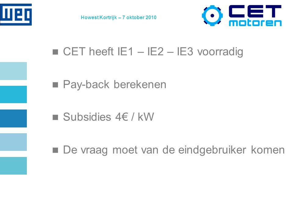 Howest Kortrijk – 7 oktober 2010 CET heeft IE1 – IE2 – IE3 voorradig Pay-back berekenen Subsidies 4€ / kW De vraag moet van de eindgebruiker komen