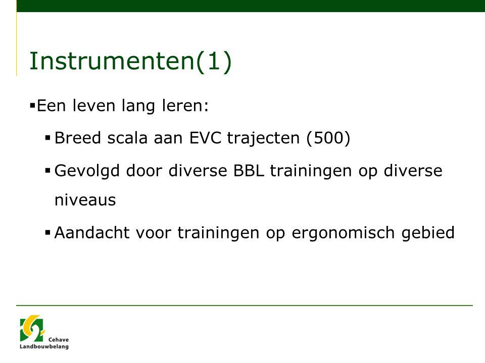 Instrumenten(1)  Een leven lang leren:  Breed scala aan EVC trajecten (500)  Gevolgd door diverse BBL trainingen op diverse niveaus  Aandacht voor trainingen op ergonomisch gebied