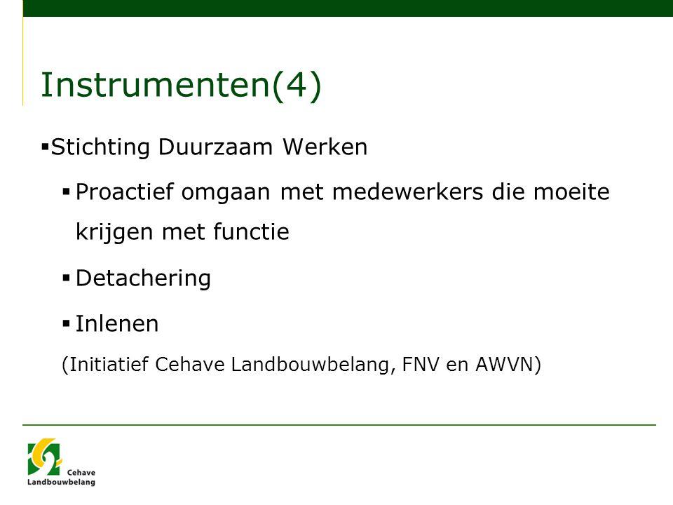 Instrumenten(4)  Stichting Duurzaam Werken  Proactief omgaan met medewerkers die moeite krijgen met functie  Detachering  Inlenen (Initiatief Cehave Landbouwbelang, FNV en AWVN)