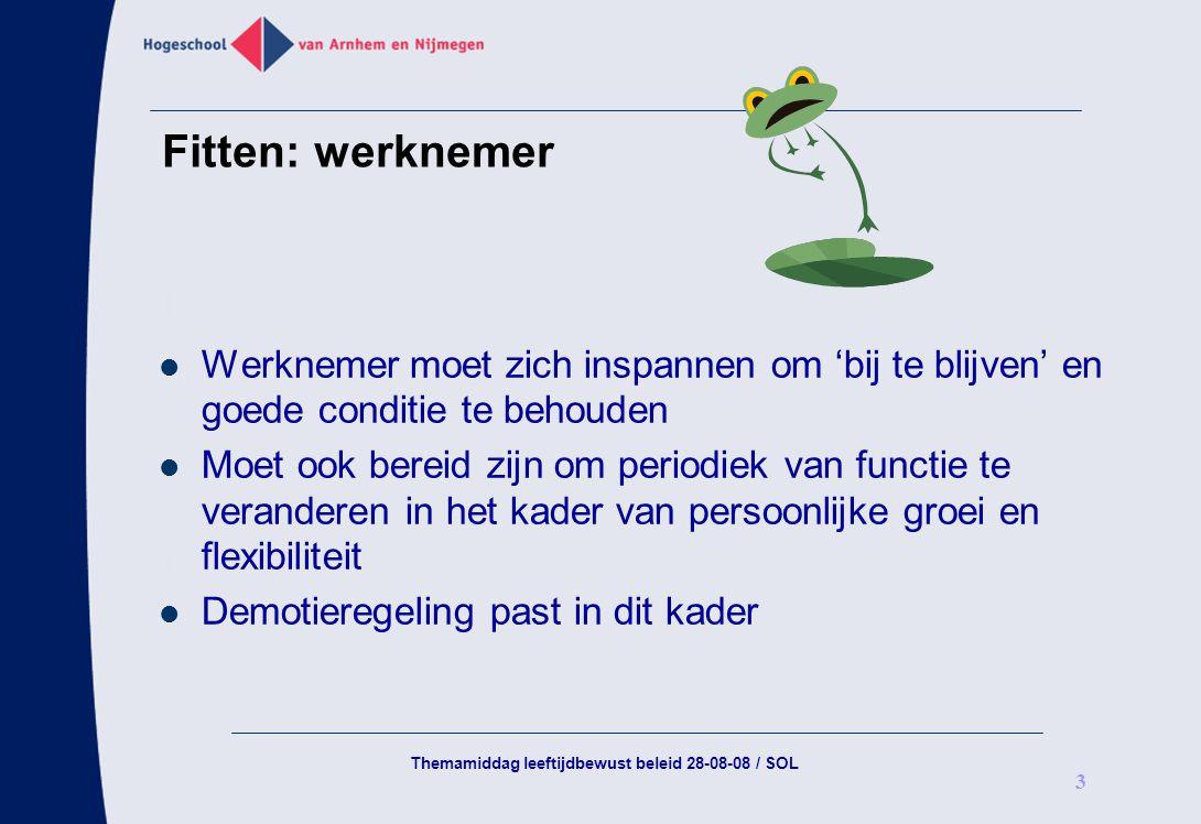 Themamiddag leeftijdbewust beleid 28-08-08 / SOL 3 Fitten: werknemer Werknemer moet zich inspannen om 'bij te blijven' en goede conditie te behouden M