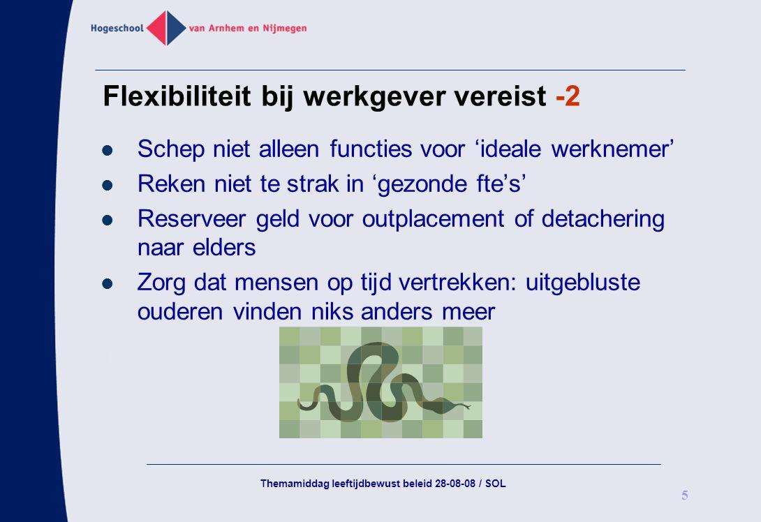 Themamiddag leeftijdbewust beleid 28-08-08 / SOL 5 Flexibiliteit bij werkgever vereist -2 Schep niet alleen functies voor 'ideale werknemer' Reken nie