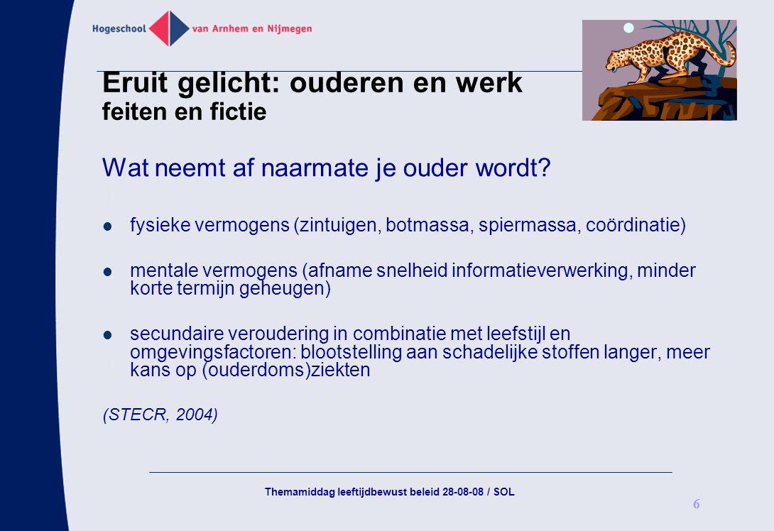 Themamiddag leeftijdbewust beleid 28-08-08 / SOL 6 Eruit gelicht: ouderen en werk feiten en fictie Wat neemt af naarmate je ouder wordt? fysieke vermo