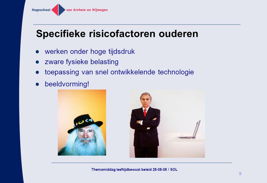 Themamiddag leeftijdbewust beleid 28-08-08 / SOL 8 Specifieke risicofactoren ouderen werken onder hoge tijdsdruk zware fysieke belasting toepassing va