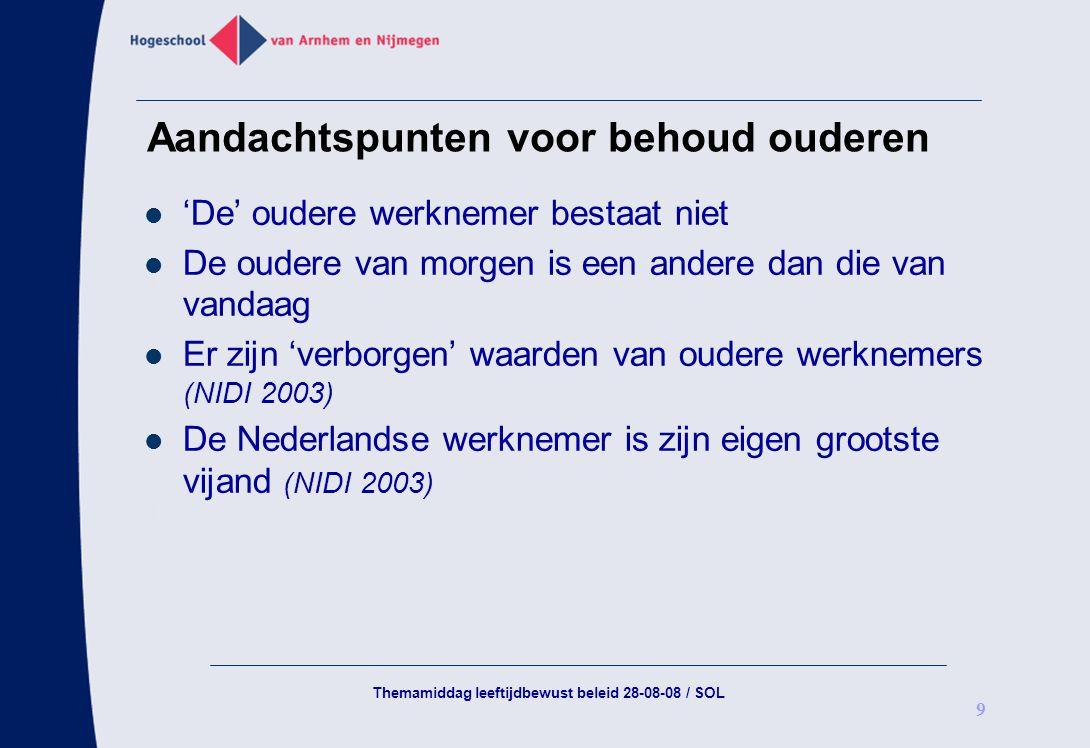 Themamiddag leeftijdbewust beleid 28-08-08 / SOL 9 Aandachtspunten voor behoud ouderen 'De' oudere werknemer bestaat niet De oudere van morgen is een