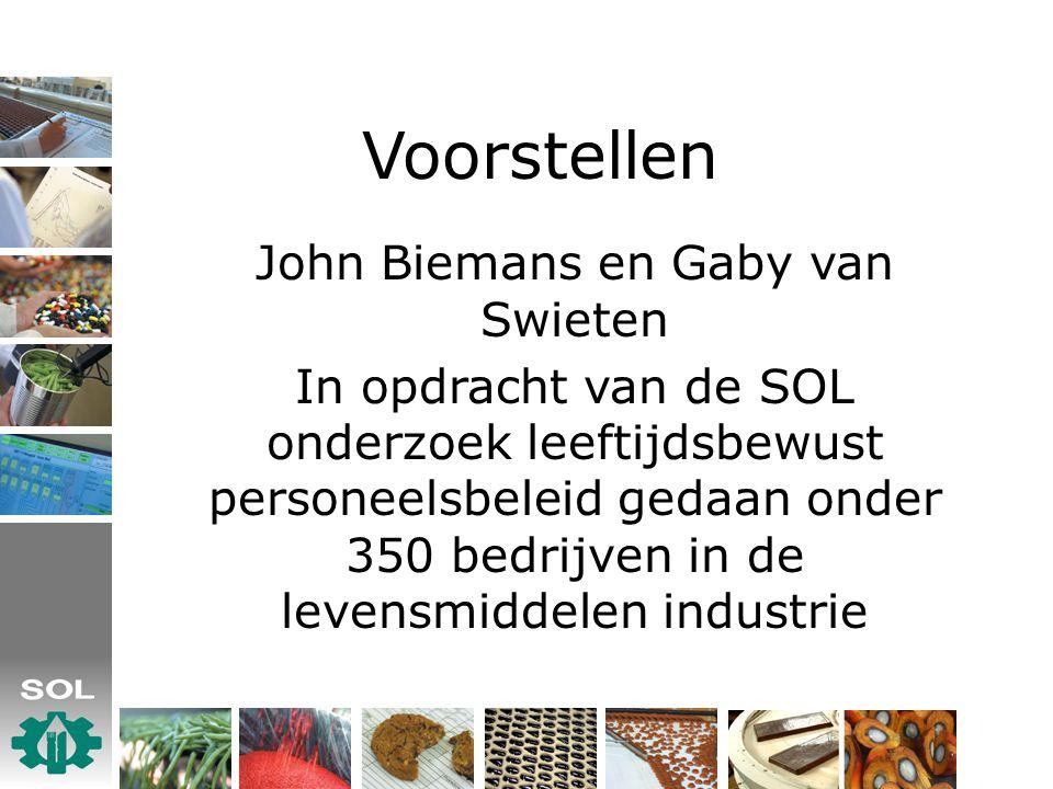 Voorstellen John Biemans en Gaby van Swieten In opdracht van de SOL onderzoek leeftijdsbewust personeelsbeleid gedaan onder 350 bedrijven in de levensmiddelen industrie