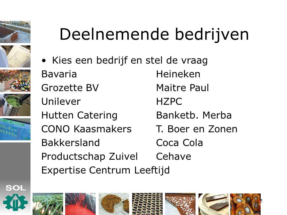 5 Deelnemende bedrijven Kies een bedrijf en stel de vraag BavariaHeineken Grozette BVMaitre Paul UnileverHZPC Hutten CateringBanketb.