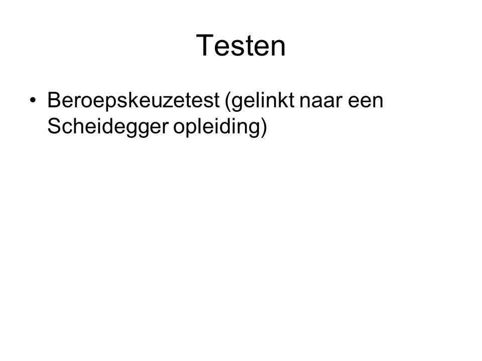Testen Beroepskeuzetest (gelinkt naar een Scheidegger opleiding)