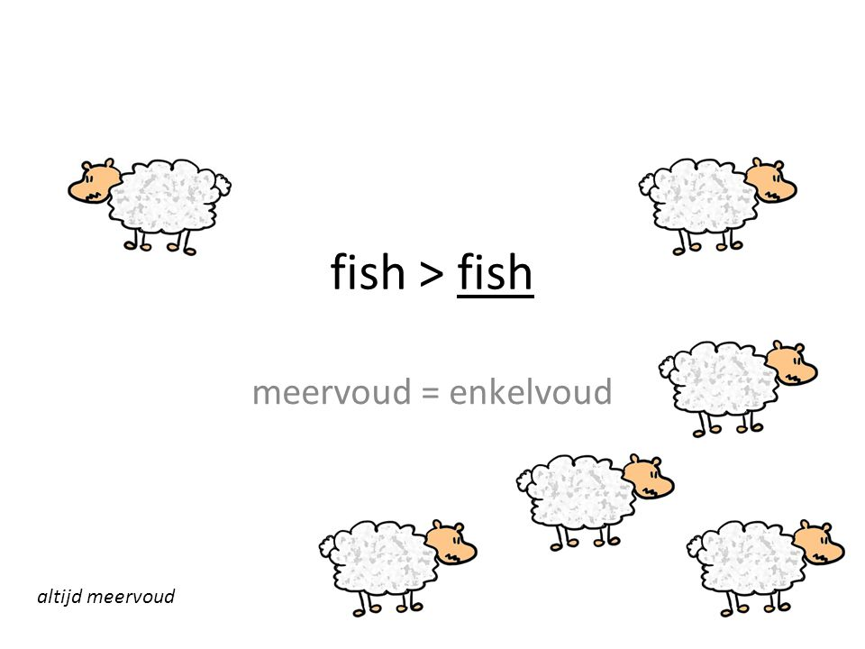 fish > fish meervoud = enkelvoud altijd meervoud