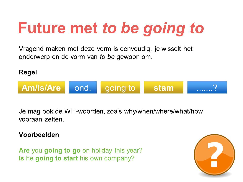 Future met to be going to Ontkennend maken doe je door not tussen de vorm van to be en going to te plaatsen.
