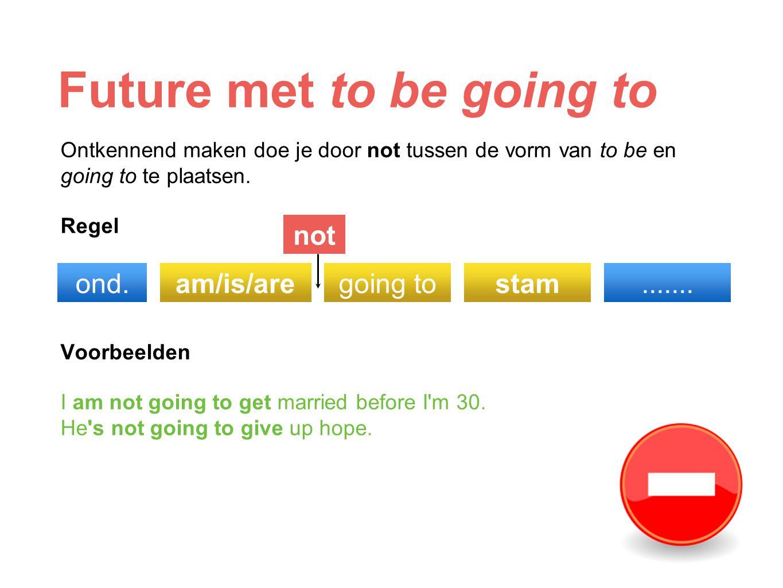 Future met to be going to Ontkennend maken doe je door not tussen de vorm van to be en going to te plaatsen. Regel Voorbeelden I am not going to get m