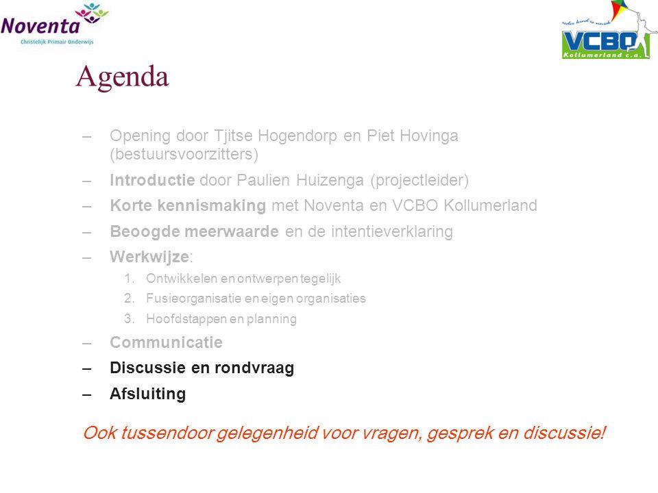 Agenda –Opening door Tjitse Hogendorp en Piet Hovinga (bestuursvoorzitters) –Introductie door Paulien Huizenga (projectleider) –Korte kennismaking met