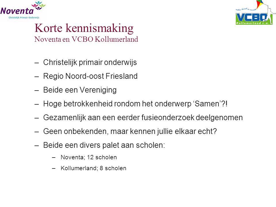 –Christelijk primair onderwijs –Regio Noord-oost Friesland –Beide een Vereniging –Hoge betrokkenheid rondom het onderwerp 'Samen'?! –Gezamenlijk aan e