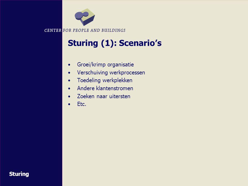 Sturing (1): Scenario's Groei/krimp organisatie Verschuiving werkprocessen Toedeling werkplekken Andere klantenstromen Zoeken naar uitersten Etc.
