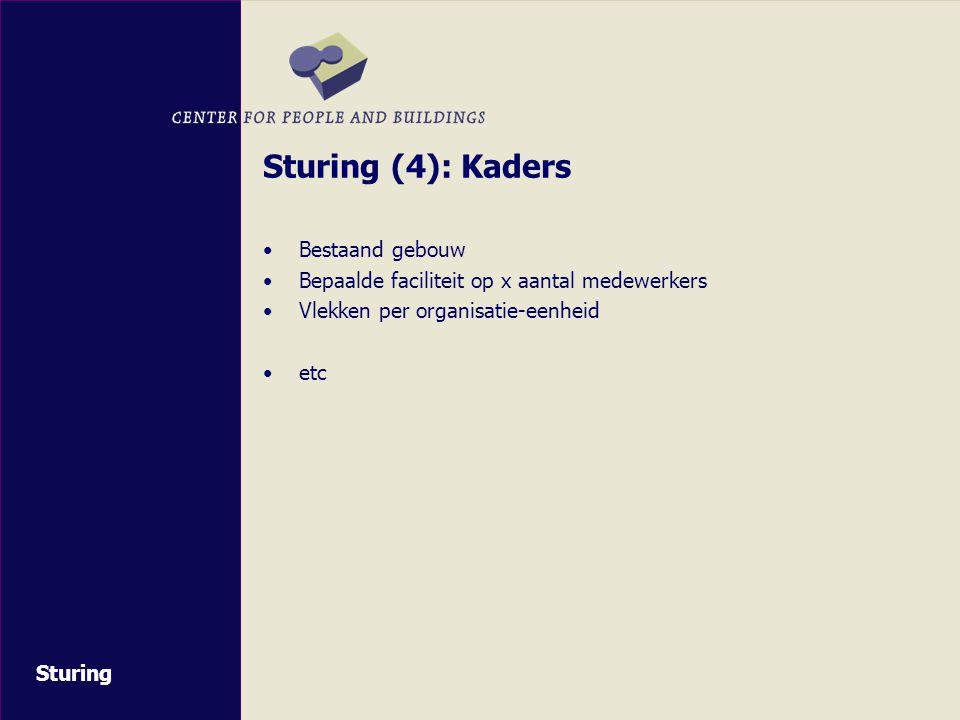 Sturing (4): Kaders Bestaand gebouw Bepaalde faciliteit op x aantal medewerkers Vlekken per organisatie-eenheid etc Sturing