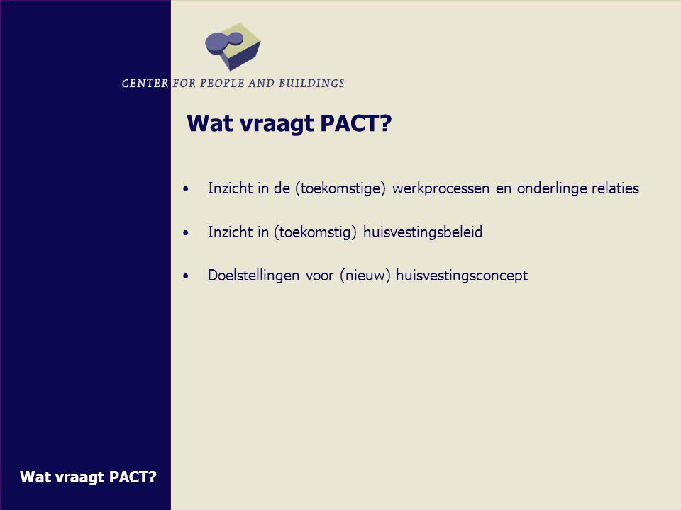 Aan de slag met PACT Inzicht in vaste en variabele gegevens Invoer van gegevens Uitkomsten presenteren