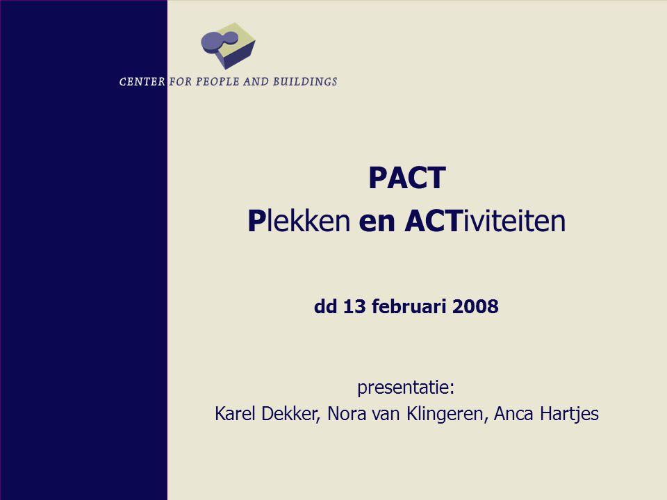 PACT Plekken en ACTiviteiten dd 13 februari 2008 presentatie: Karel Dekker, Nora van Klingeren, Anca Hartjes