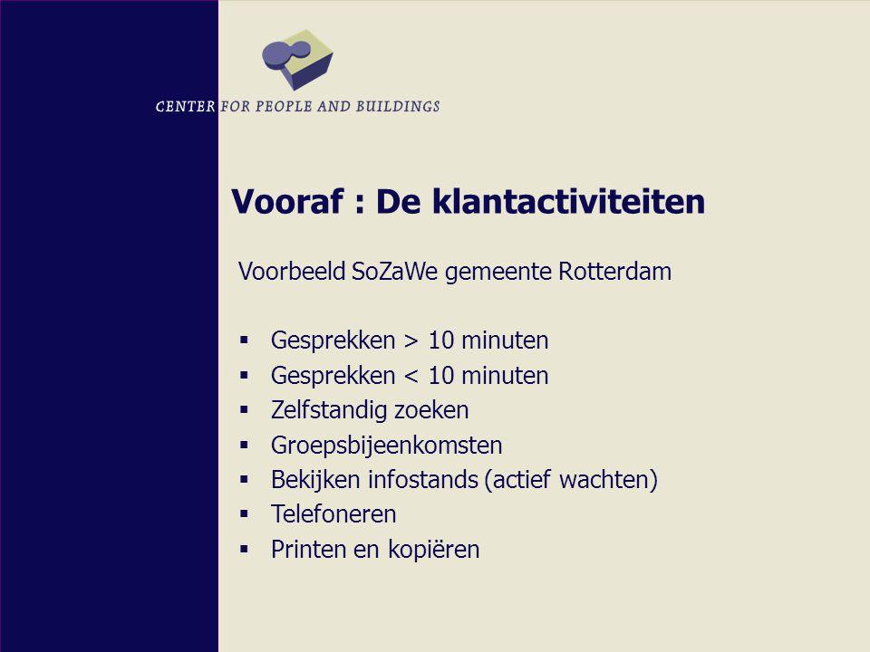 Vooraf : De klantactiviteiten Voorbeeld SoZaWe gemeente Rotterdam  Gesprekken > 10 minuten  Gesprekken < 10 minuten  Zelfstandig zoeken  Groepsbijeenkomsten  Bekijken infostands (actief wachten)  Telefoneren  Printen en kopiëren