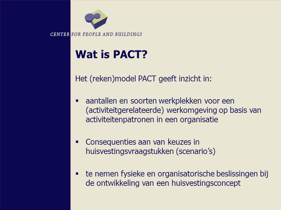 Ontstaan en ontwikkeling PACT Het (reken)model PACT is tot stand gekomen door:  Onderzoek bij de BD naar de mogelijkheid tot het ontwikkelen van landelijke functieprofielen als hulpmiddel in de vertaalslag van organisatie naar huisvesting op basis van de activiteiten in de organisatie.