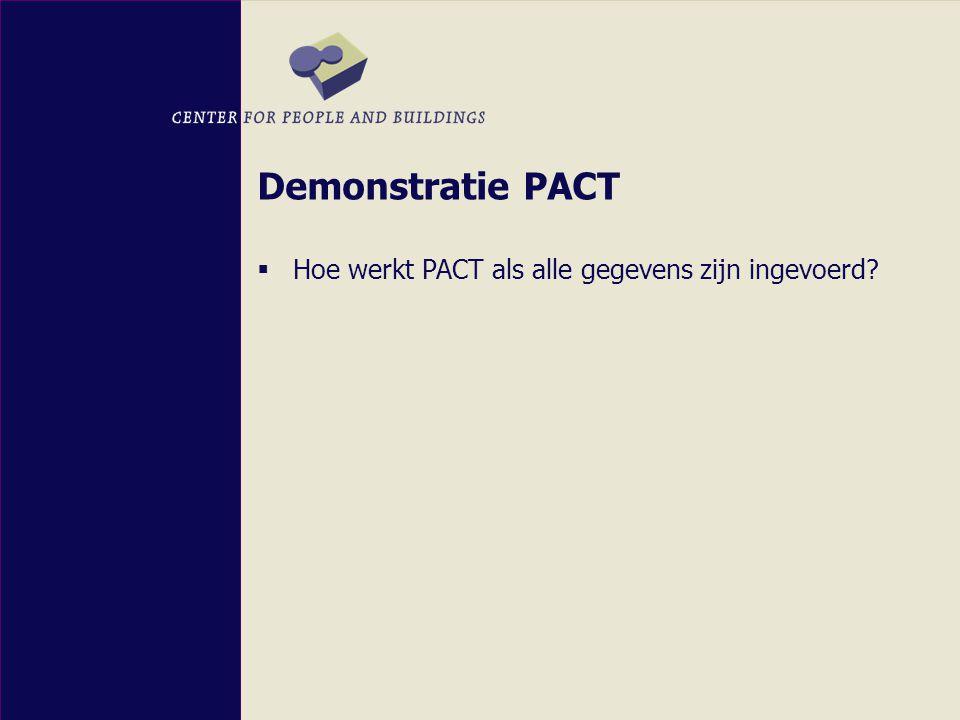 Demonstratie PACT  Hoe werkt PACT als alle gegevens zijn ingevoerd