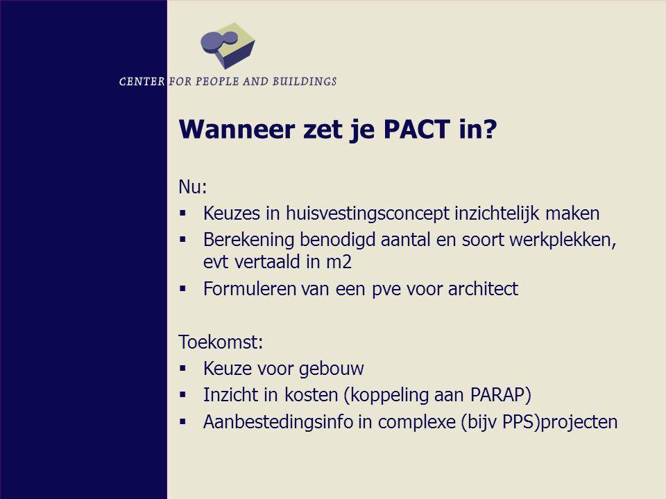 Doelgroepen PACT  Betrokkenen bij huisvestingsvraagstukken:  Projectteam  Beslissend management  Facilitair management