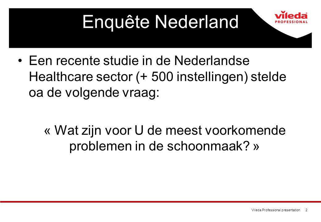 Vileda Professional presentation 2 Enquête Nederland Een recente studie in de Nederlandse Healthcare sector (+ 500 instellingen) stelde oa de volgende vraag: « Wat zijn voor U de meest voorkomende problemen in de schoonmaak.