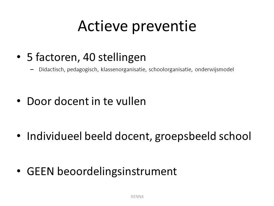 Actieve preventie 5 factoren, 40 stellingen – Didactisch, pedagogisch, klassenorganisatie, schoolorganisatie, onderwijsmodel Door docent in te vullen