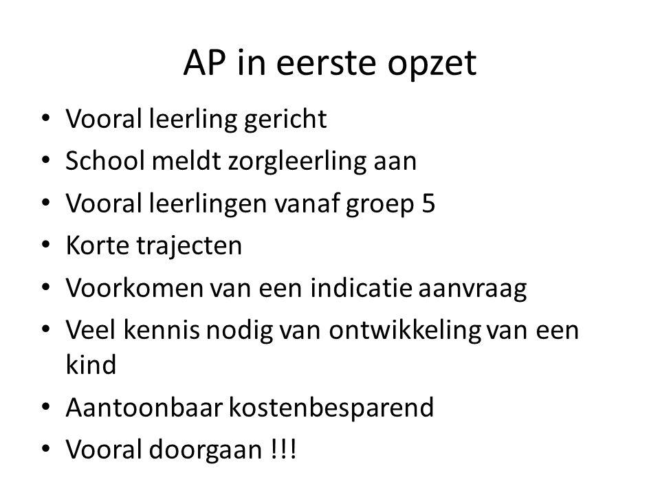 AP in eerste opzet Vooral leerling gericht School meldt zorgleerling aan Vooral leerlingen vanaf groep 5 Korte trajecten Voorkomen van een indicatie a