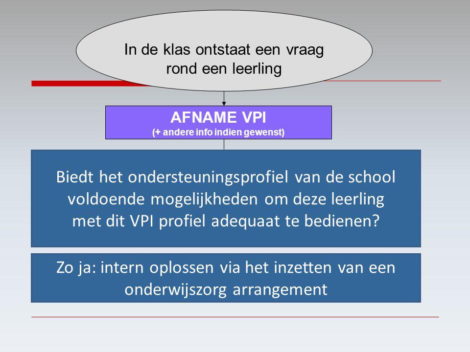 In de klas ontstaat een vraag rond een leerling AFNAME VPI (+ andere info indien gewenst) Betrokkenen bespreken de resultaten en de te nemen stappen R