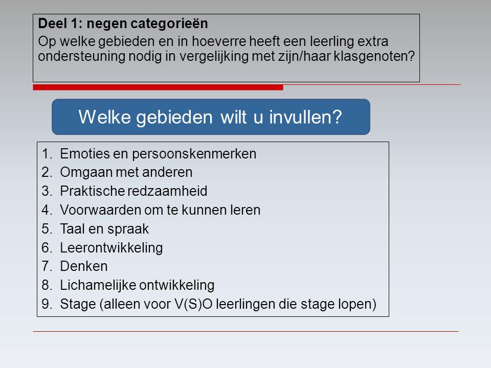 1.Emoties en persoonskenmerken 2.Omgaan met anderen 3.Praktische redzaamheid 4.Voorwaarden om te kunnen leren 5.Taal en spraak 6.Leerontwikkeling 7.De