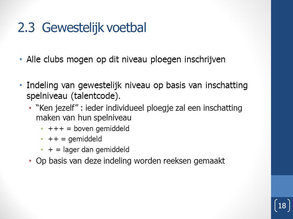 2.3 Gewestelijk voetbal Alle clubs mogen op dit niveau ploegen inschrijven Indeling van gewestelijk niveau op basis van inschatting spelniveau (talent