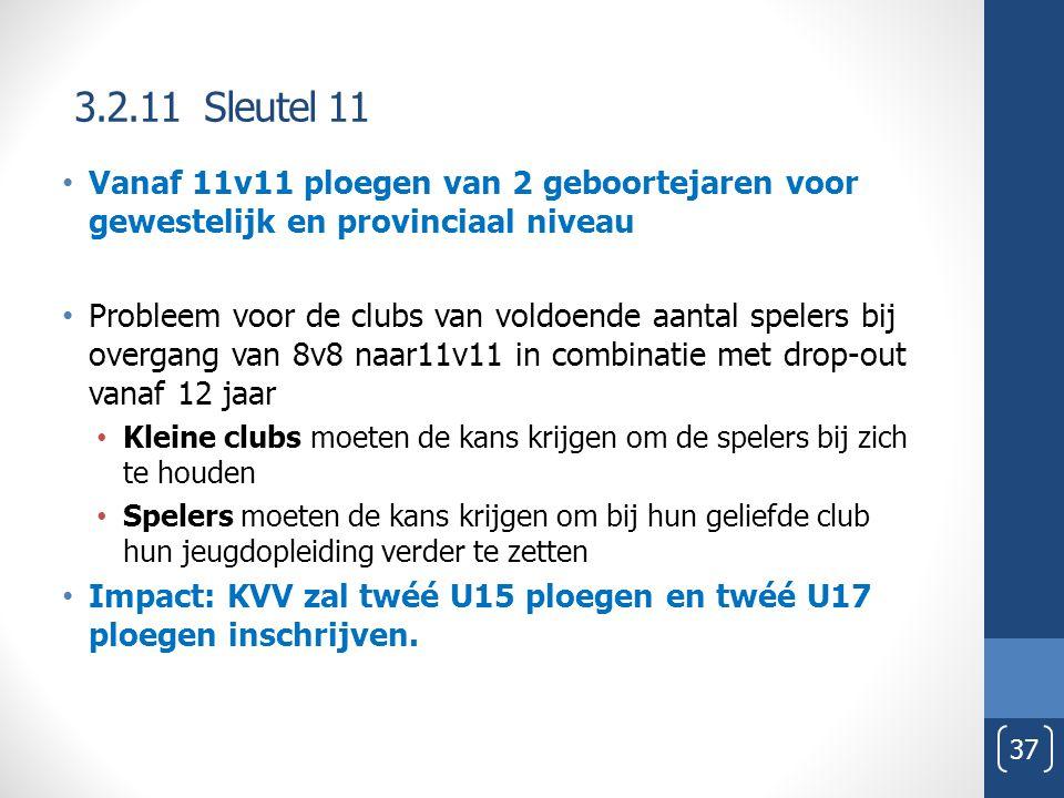 3.2.11 Sleutel 11 37 Vanaf 11v11 ploegen van 2 geboortejaren voor gewestelijk en provinciaal niveau Probleem voor de clubs van voldoende aantal spelers bij overgang van 8v8 naar11v11 in combinatie met drop-out vanaf 12 jaar Kleine clubs moeten de kans krijgen om de spelers bij zich te houden Spelers moeten de kans krijgen om bij hun geliefde club hun jeugdopleiding verder te zetten Impact: KVV zal twéé U15 ploegen en twéé U17 ploegen inschrijven.