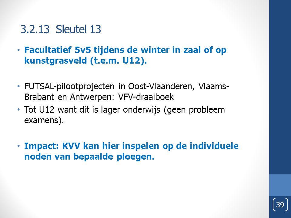 3.2.13 Sleutel 13 39 Facultatief 5v5 tijdens de winter in zaal of op kunstgrasveld (t.e.m. U12). FUTSAL-pilootprojecten in Oost-Vlaanderen, Vlaams- Br