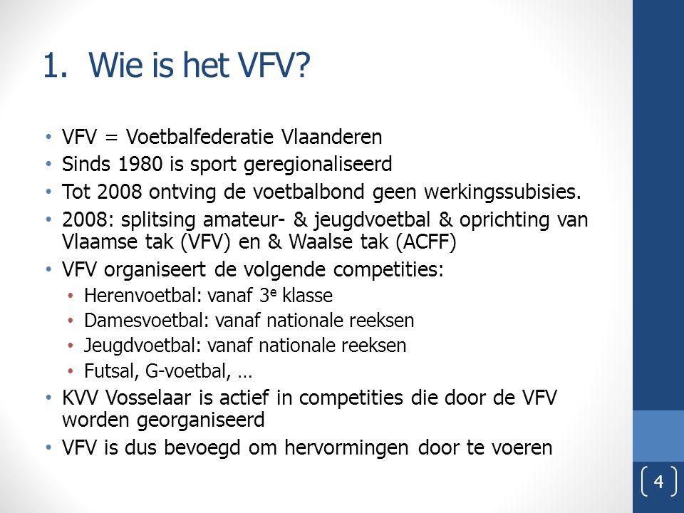 VFV = Voetbalfederatie Vlaanderen Sinds 1980 is sport geregionaliseerd Tot 2008 ontving de voetbalbond geen werkingssubisies. 2008: splitsing amateur-