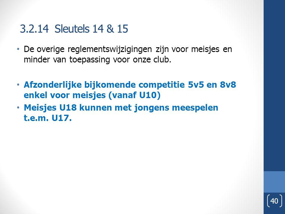 3.2.14 Sleutels 14 & 15 40 De overige reglementswijzigingen zijn voor meisjes en minder van toepassing voor onze club. Afzonderlijke bijkomende compet