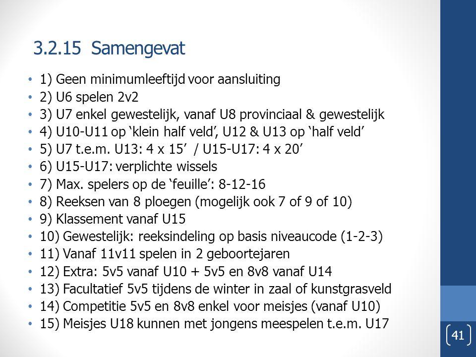 3.2.15 Samengevat 41 1) Geen minimumleeftijd voor aansluiting 2) U6 spelen 2v2 3) U7 enkel gewestelijk, vanaf U8 provinciaal & gewestelijk 4) U10-U11 op 'klein half veld', U12 & U13 op 'half veld' 5) U7 t.e.m.