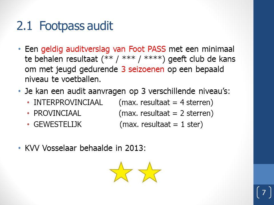 2.1 Footpass audit Een geldig auditverslag van Foot PASS met een minimaal te behalen resultaat (** / *** / ****) geeft club de kans om met jeugd gedur